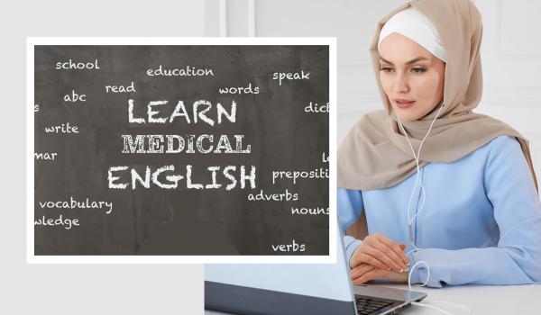 Muslim woman learning MedEng online